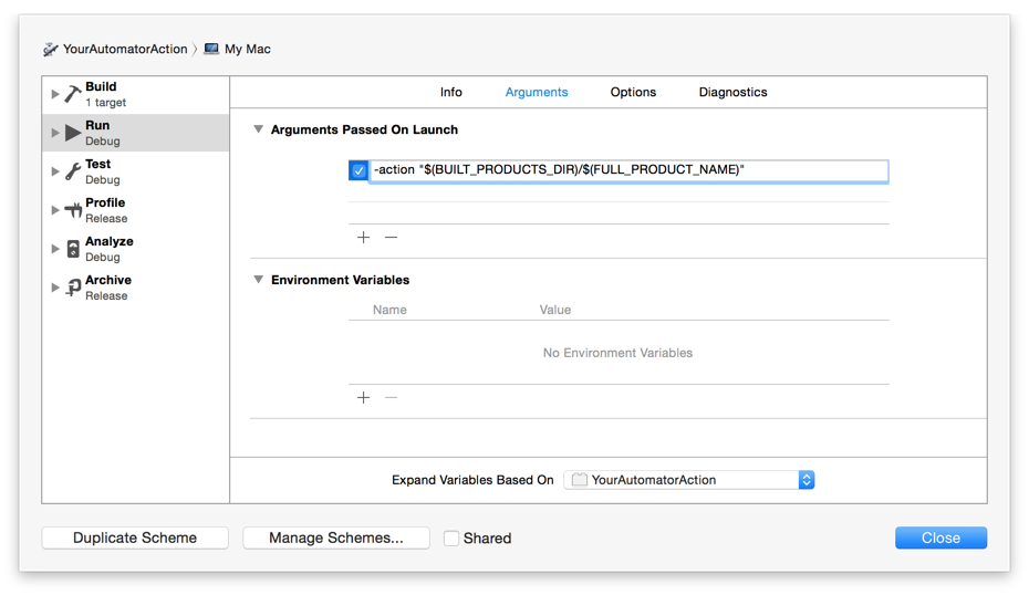 Technical Q&A QA1885: Testing an Automator Action Xcode Project