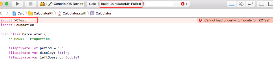 Technical Q&A QA1954: Cannot load underlying module for XCTest