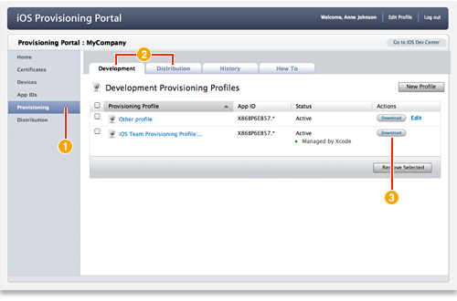 Downloading a Provisioning Profile
